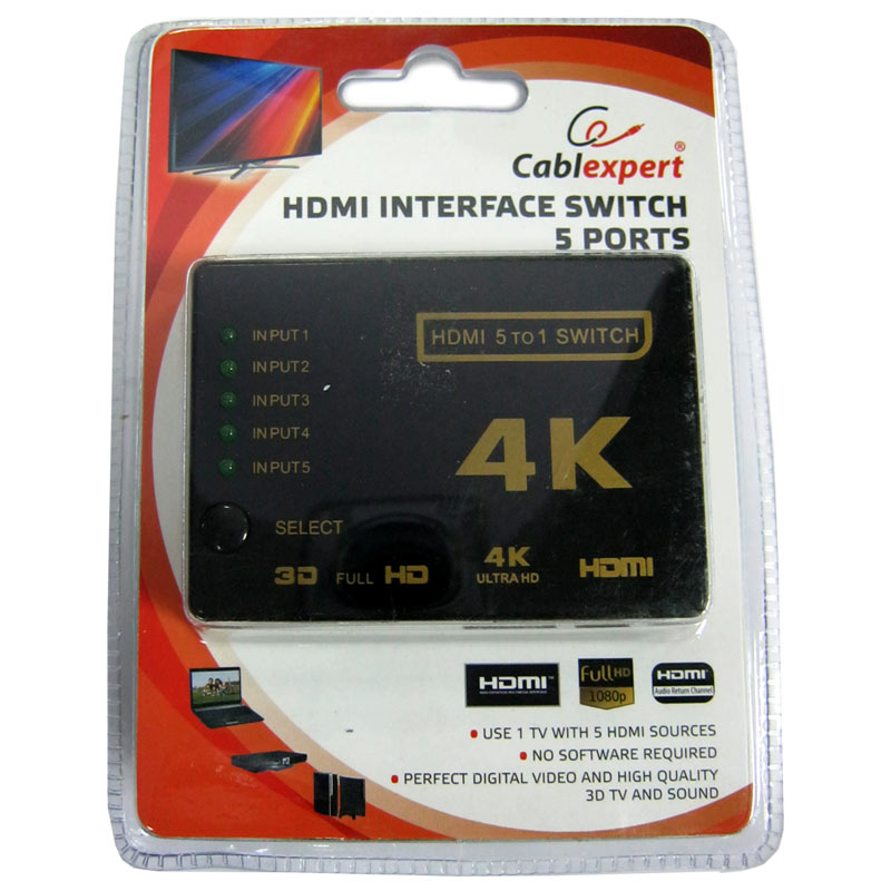 Переключатель HDMI сигнала Cablexpert DSW-HDMI-53 (5входов-1выход)