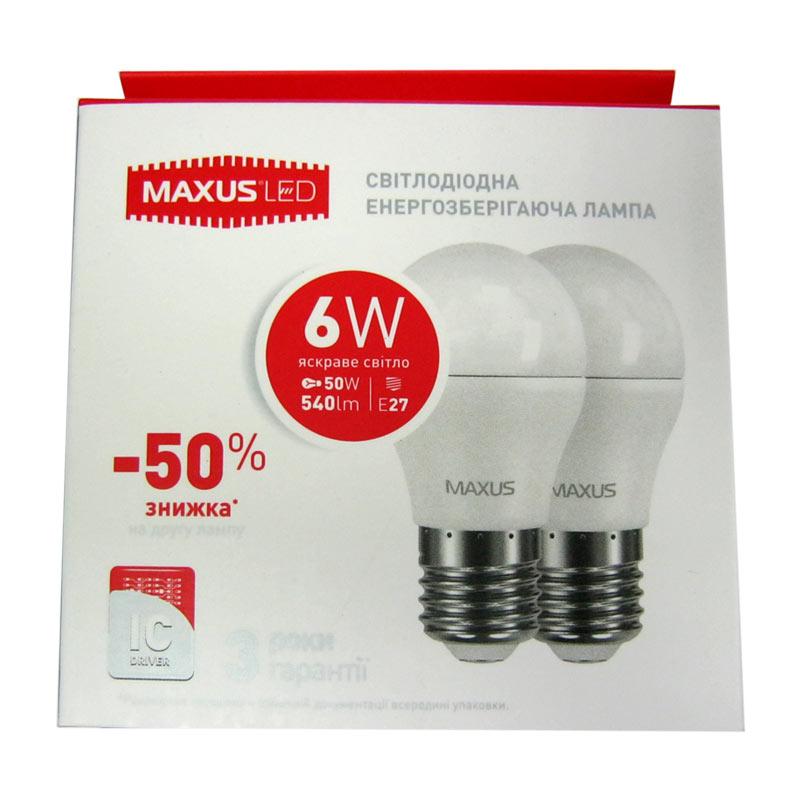 Лампочка светодиодная Maxus led 2-LED-542-01 G45 F 6W E27 4100K (по 2шт)