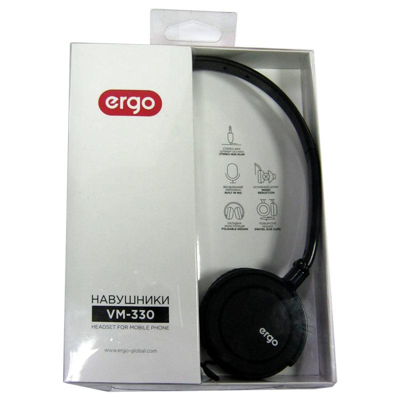Наушники с микрофоном ERGO VM-330(Распродажа!!!)(кабель 1,5м) разьём 3,5jack (4pin)