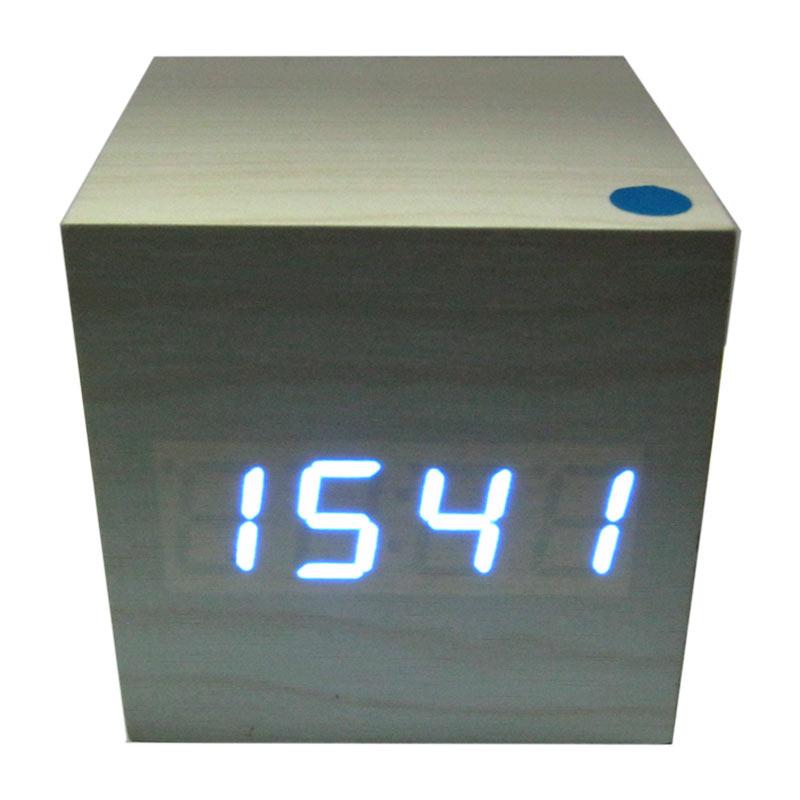 Часы VST-1293Blue(Распродажа)(с синей подсветкой,белые,форма в виде дерев.бруска)