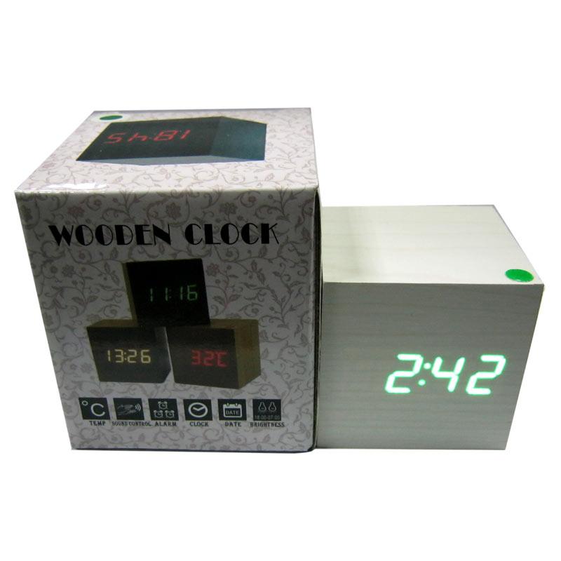 Часы VST-1293Green(Распродажа)(с зеленой подсветкой,св.дерево,форма в виде дерев.бруска)