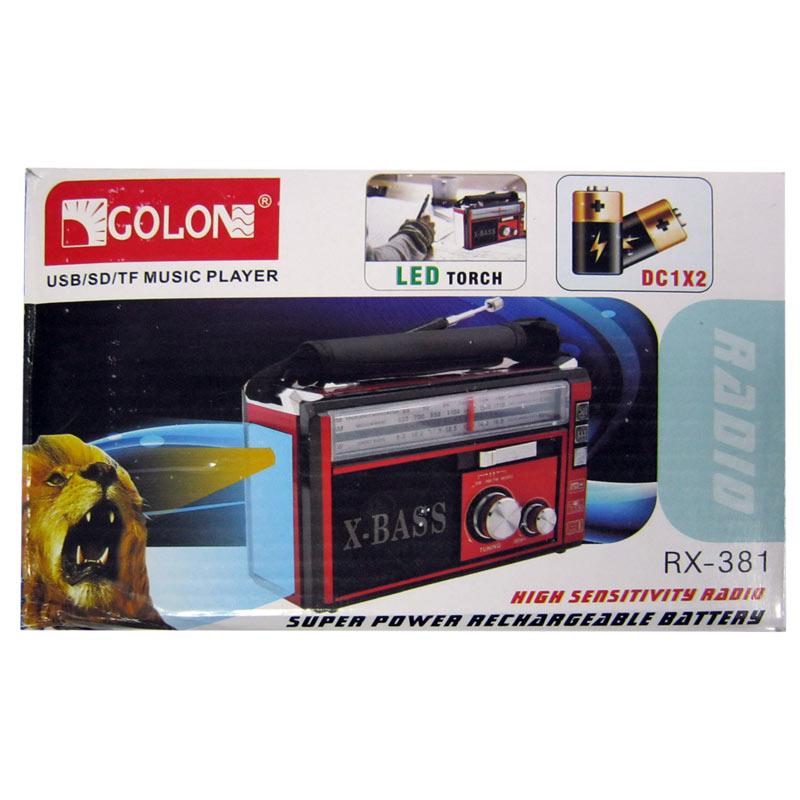 Радиоприёмник GOLON RX-381;382(сеть+аккум+фонарик;с USB;SD;FM)