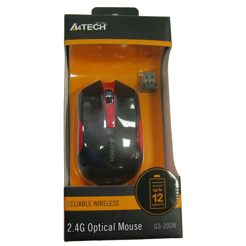 Беспроводная мышка A4Tech G3-200N Black+Red,V-TRACK USB