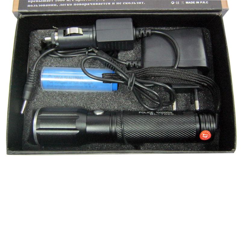 Фонарь аккумуляторный Bailong BL-7020 (100000W +ЗУcеть;Li-ion18650+ЗУавто)