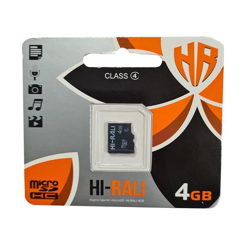 Карта памяти micro-SDHC 4Gb Hi-Rali Class 4 no box