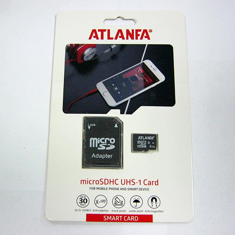 Карта памяти micro-SDHC 4Gb Atlanfa Class 6 + адаптер