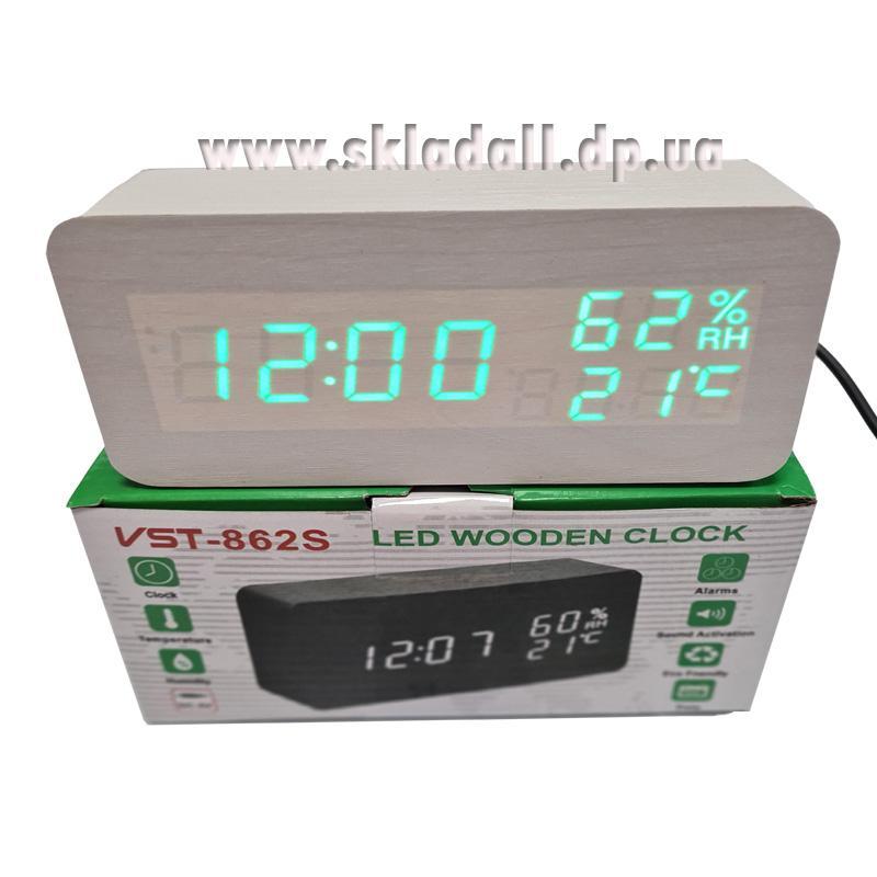 Часы VST-862S-4(с зеленой подсв.+влажн.,форма в виде дерев.бруска)