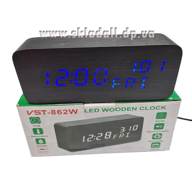 Часы VST-862W-5(с синей.подсв.+день недели,форма в виде дерев.бруска)