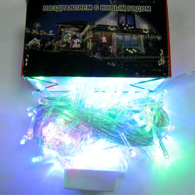 Гирлянда новогодняя 200 LED color;15m(прозрачный провод,с переключением режимов)
