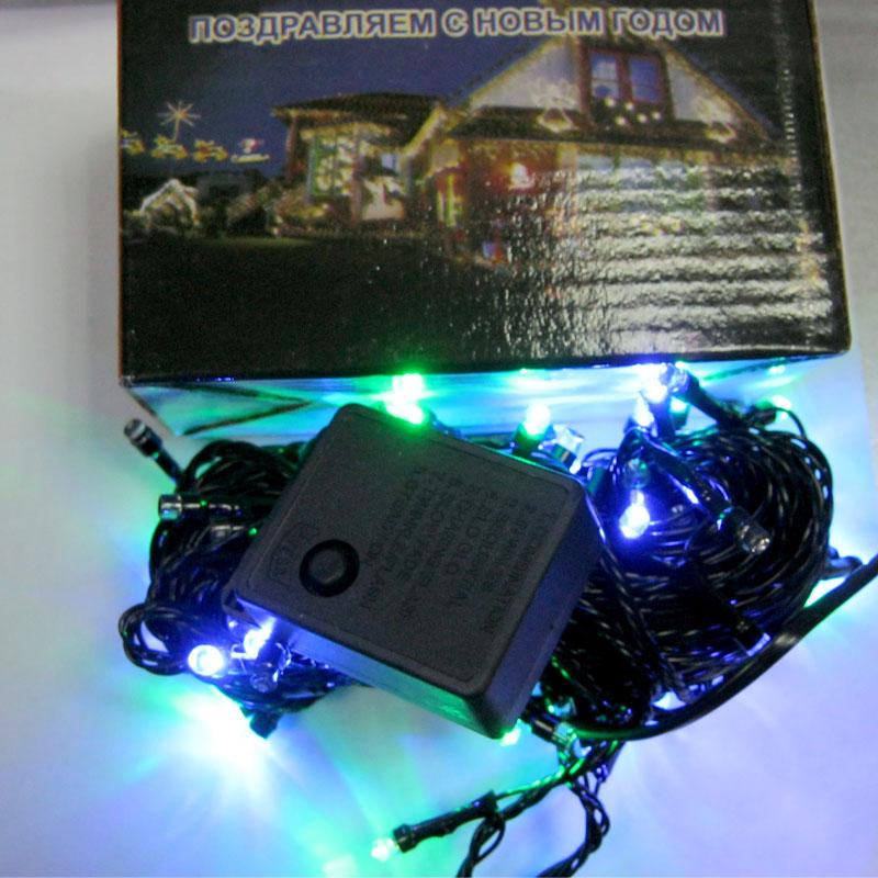 Гирлянда новогодняя 100 LED color;10m(черный провод,с переключением режимов)