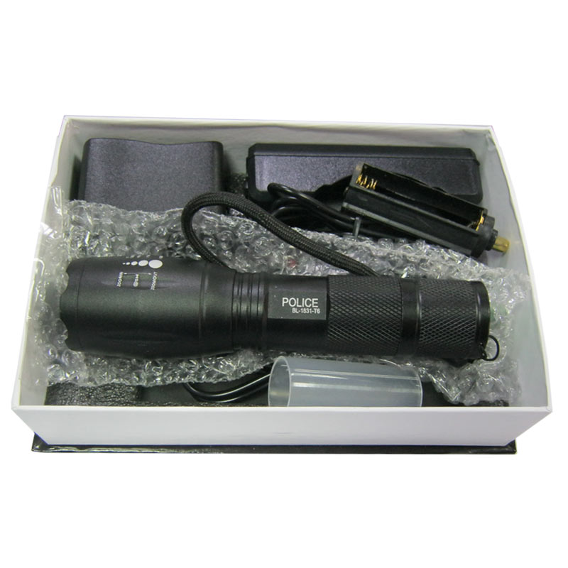 Фонарь аккумуляторный Bailong BL-1837-Т6 ( 5режимов;15800W+ЗУcеть;Li-ion18650)