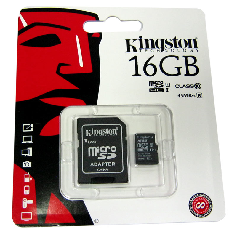 Карта памяти micro-SDHC16Gb Kingston Class10 80Mb/s+adapterSD