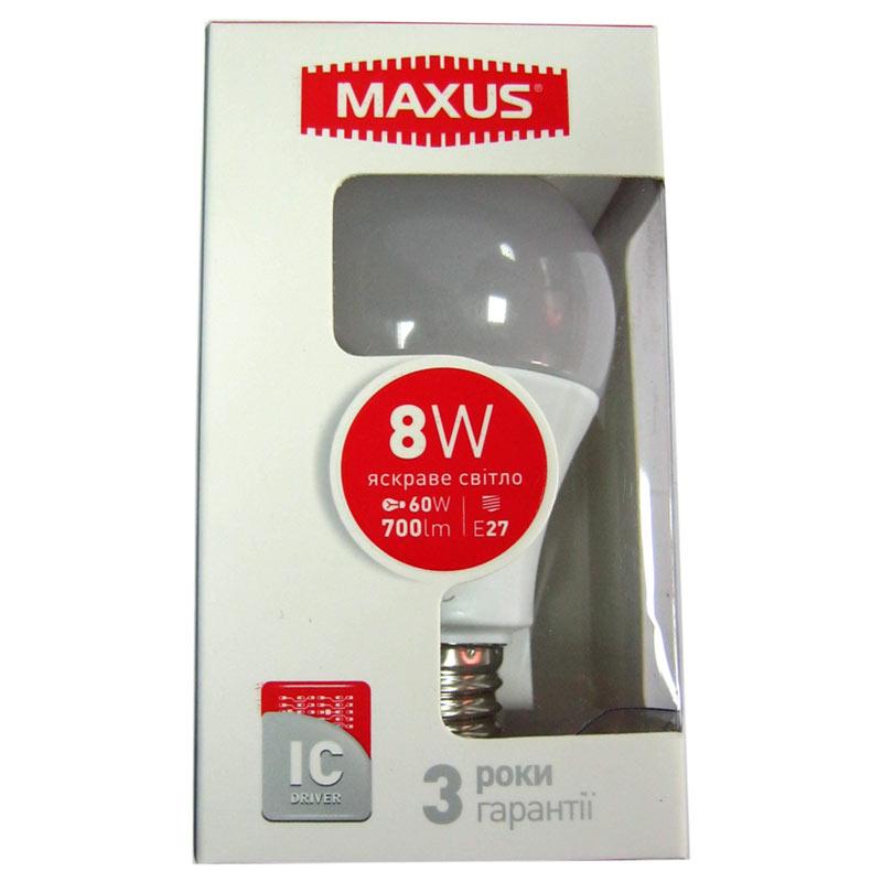 Лампочка светодиодная Maxus led 560-01 A60 8W E27 4100K(Распродажа)