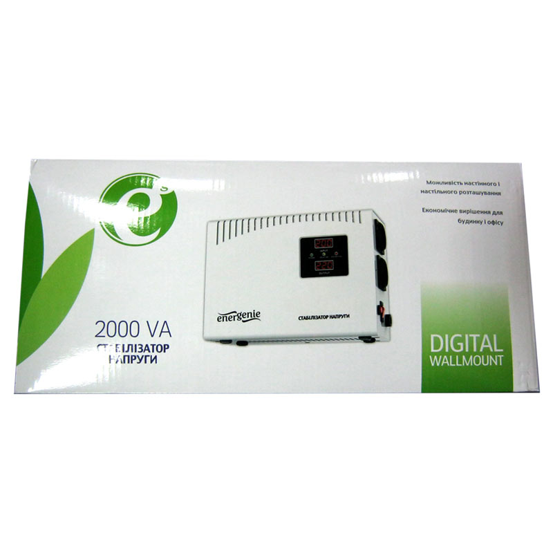 Стабилизатор EnerGenie EG-AVR-DW2000-01(1200W);цифровой,m=6.0кг(204x280x119mm)