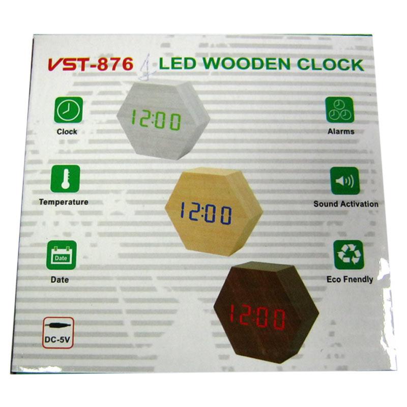 Часы VST-876-1(Распродажа)(с красной подсветкой,темп.+дата,форма в виде дерев.бруска)