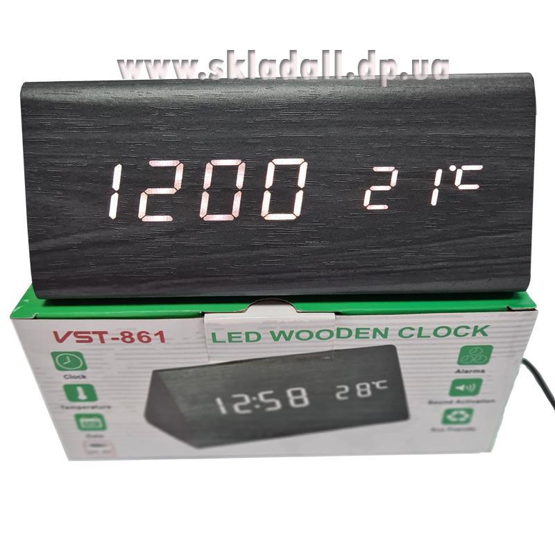 Часы VST-861-6(с белой подсветкой,темп.,форма в виде дерев.бруска)
