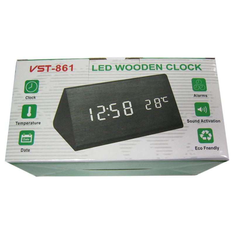 Часы VST-861-5(Распродажа)(с синей подсветкой,темп.,форма в виде дерев.бруска)