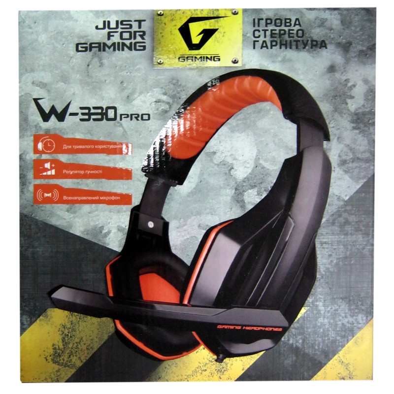 Наушники с микрофоном Gemix W-330МV Pro игровые,черно-оранжевые