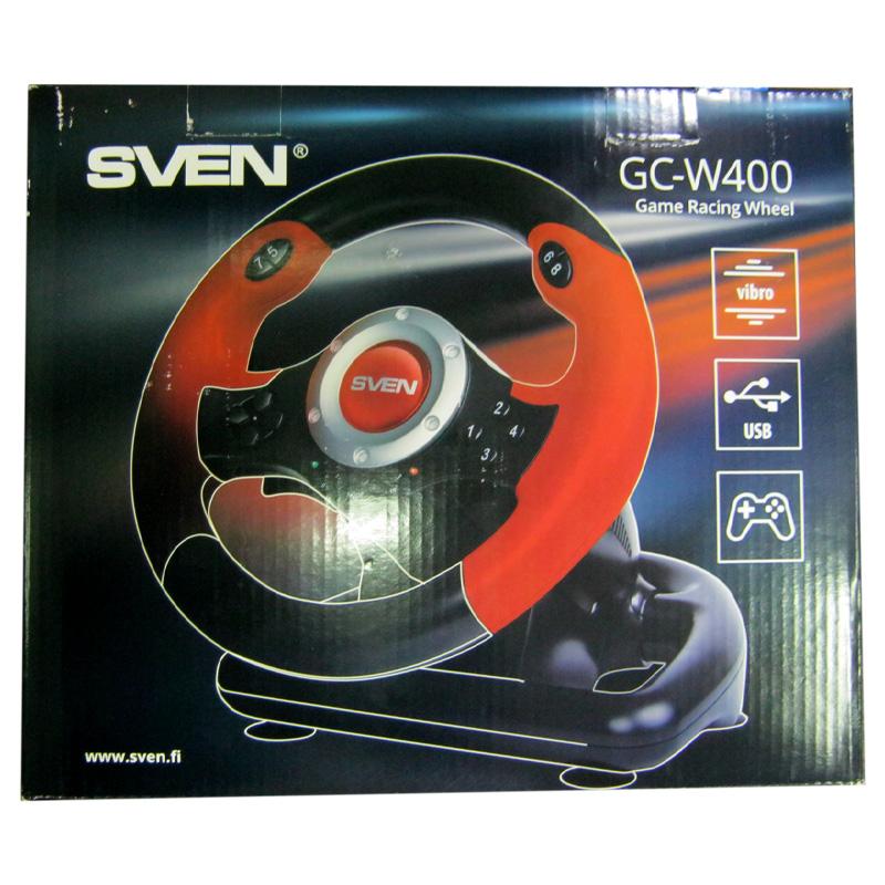 Игровой руль Sven GC-W400, vibro,10кнопок,2оси,8-ми поз.джойстик(с педалями)