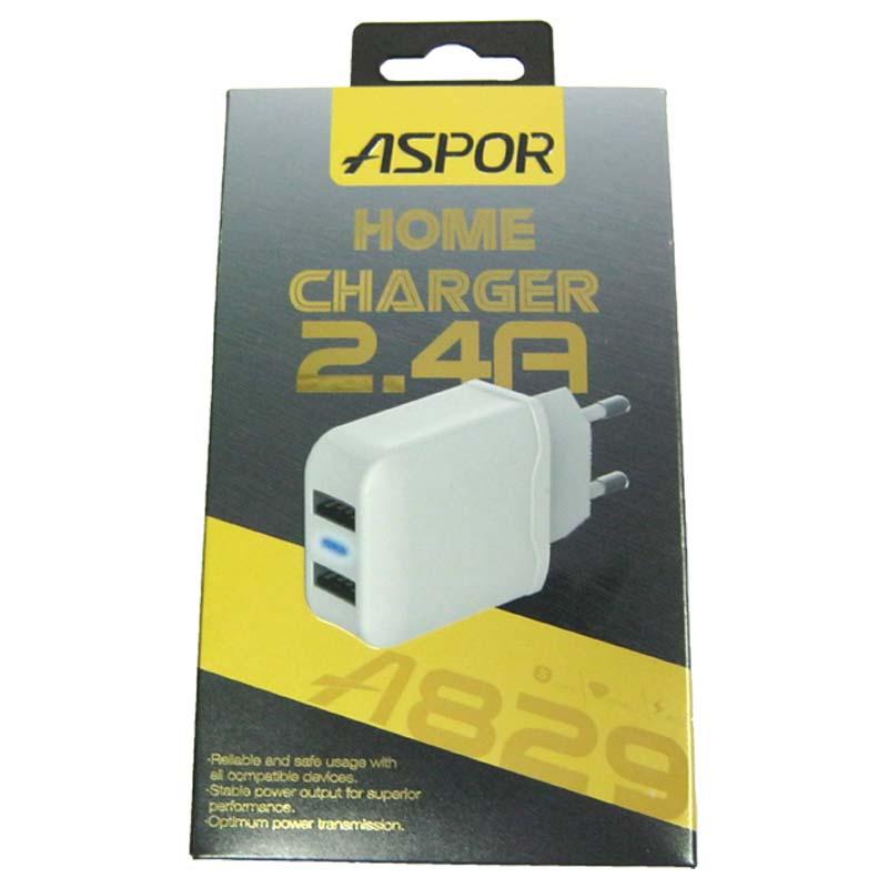 Зарядное устройство ASPOR A829 2-USB; 2,4A
