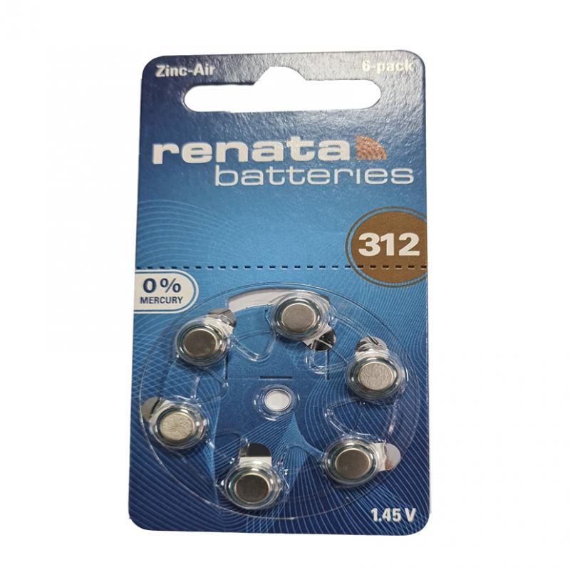 Батарейка Renata PR41(Type312) 1,45V(по 6шт,для слуховых аппаратов)
