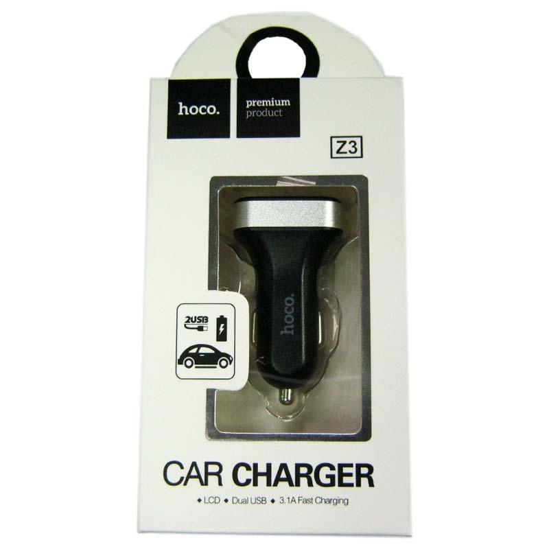 Автомобильное зарядное устройство HOCO Z3 2,1A(2-USB)black;цифровой дисплей