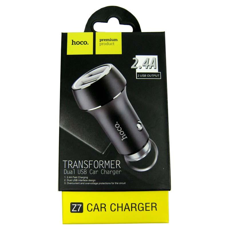 Автомобильное зарядное устройство HOCO Z7 2,4A(2-USB)black