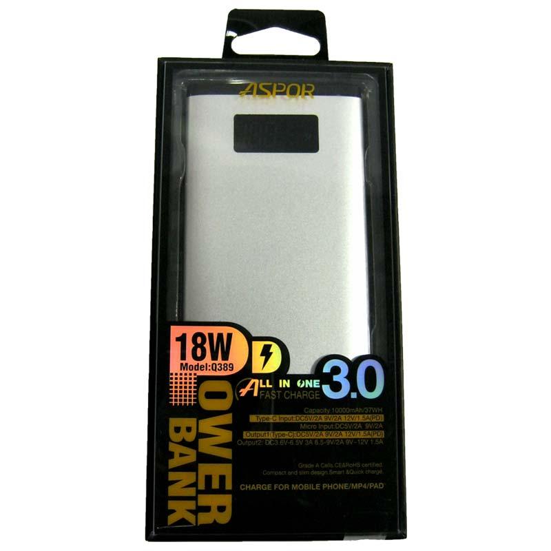 Портативное зарядное устройство ASPOR Q389 Li-Pol(10000mAh)QuickCharger(TypeC/Micro)(3А) Original