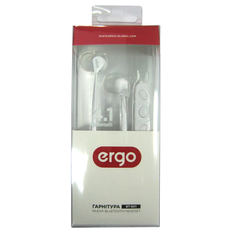 Bluetooth гарнитура ERGO BT-801 White (ваккумная)