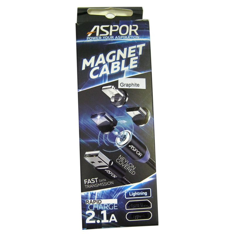Кабель Lighting-USB Aspor-360 Magnetic 2,1A Fast 1,2м (в коробке)