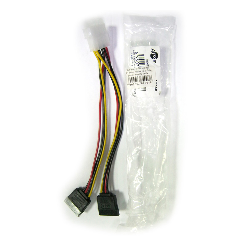 Кабель интерфейса ATcom Molex to 2-Sata power supply cable 20см