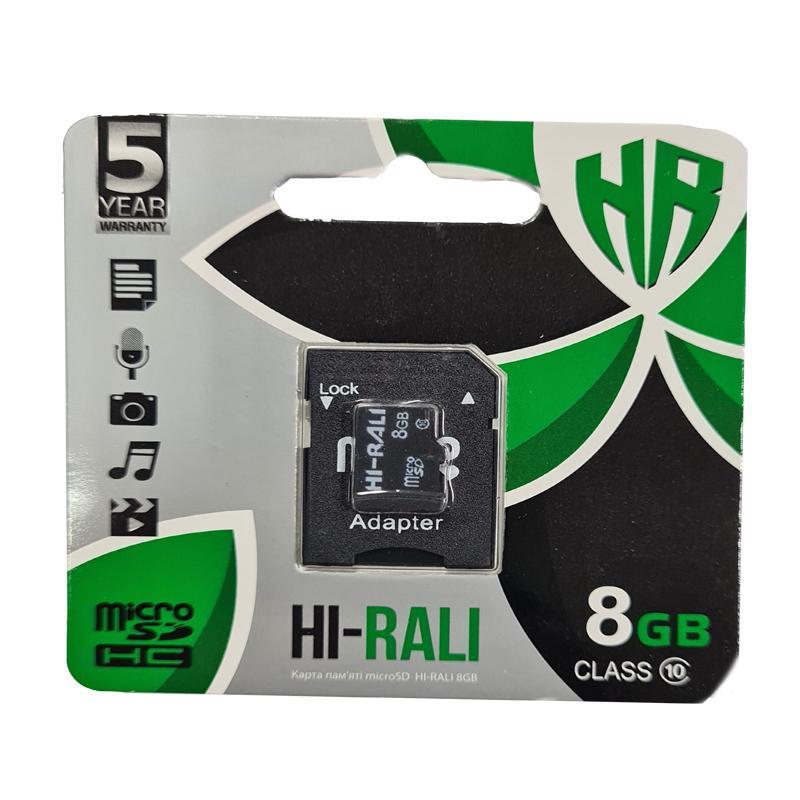 Карта памяти micro-SDHC 8Gb Hi-Rali Class10 + адаптерSD