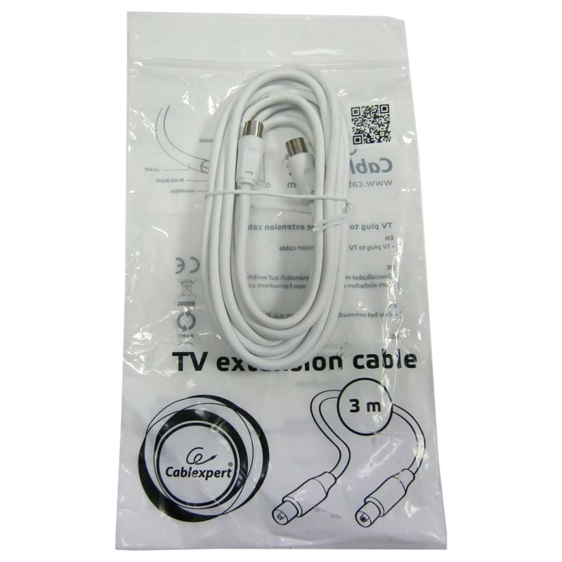 Кабель антенный удлинитель Cabelexpert CCV-515-W белый 3м