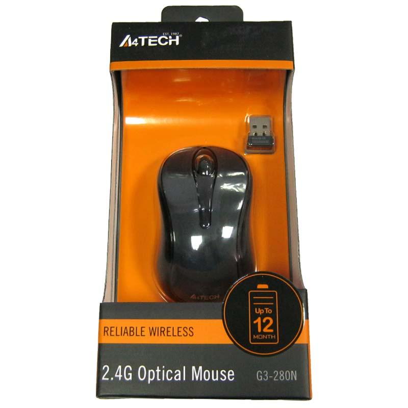 Беспроводная мышка A4Tech G3-280N Black,V-TRACK,1000dpi; USB