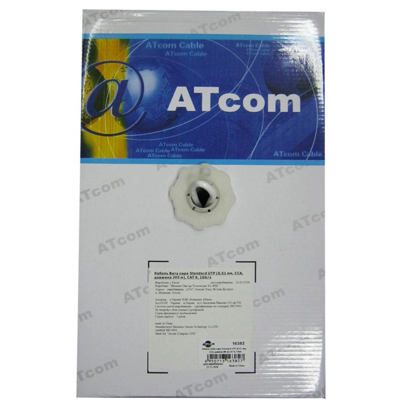 Кабель для компьютерных сетей AT-com UTP CAT6,1Gb/s;алюминий-медь(за 1метр)4*2*0,51мм