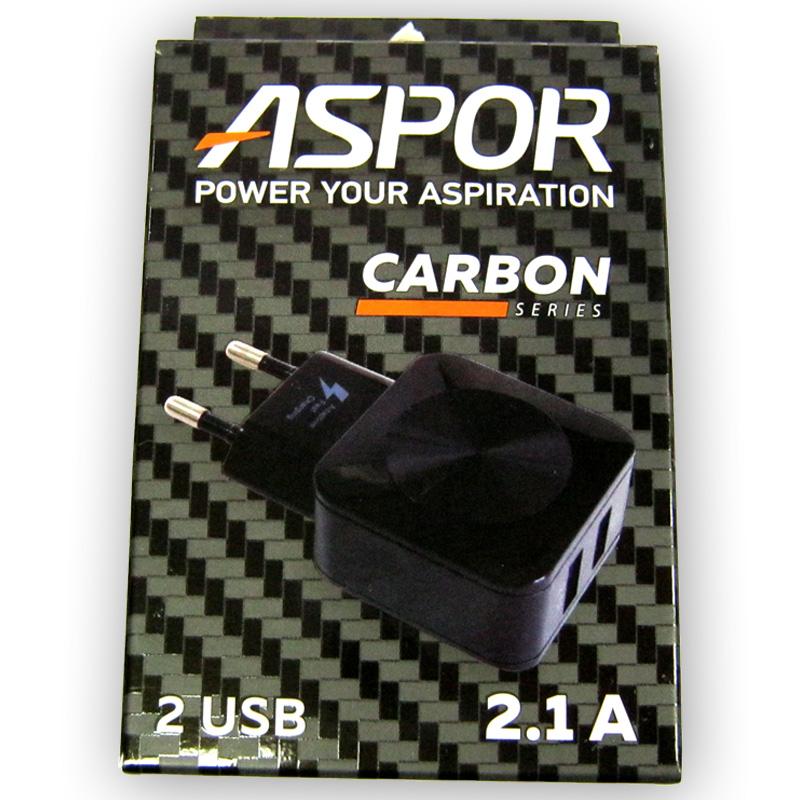 Зарядное устройство ASPOR F13C Carbon 2-USB; 2,1A