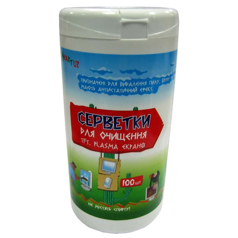 Чистящие салфетки Kaktuz для TFT;Plazma экранов (банка 100шт)