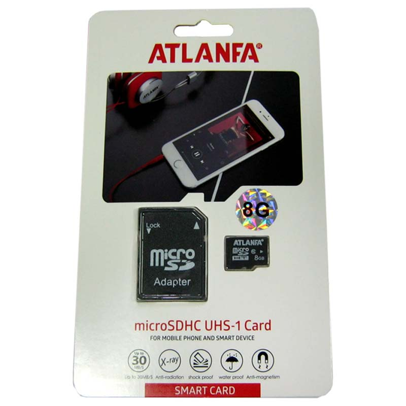 Карта памяти micro-SDHC 8Gb Atlanfa Class 10 + адаптерSD