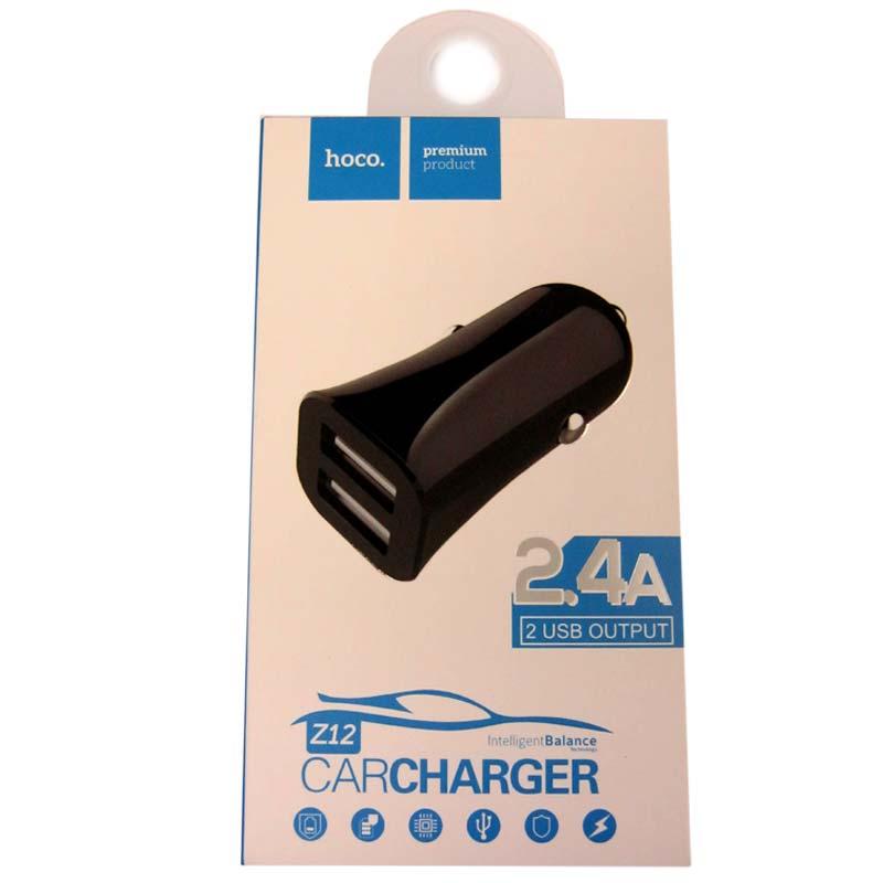 Автомобильное зарядное устройство HOCO Z12 2,4A(2-USB)black