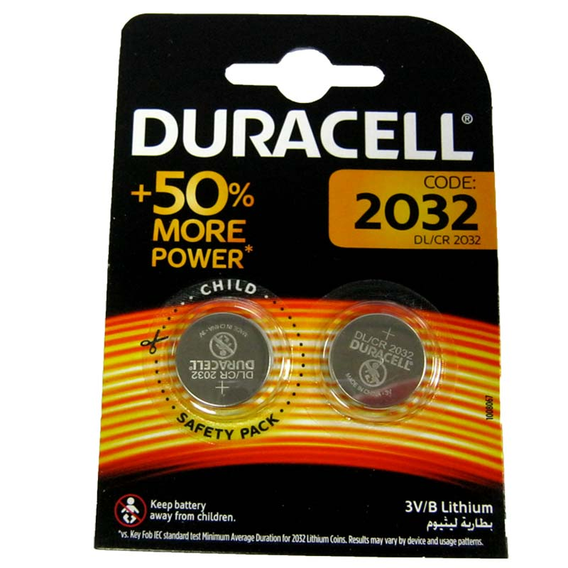 Батарейка Duracell CR2032 Lithium 3V 1шт (блистер по 2шт)