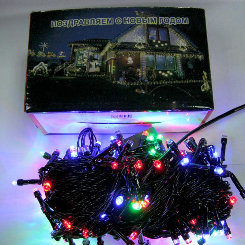 Гирлянда новогодняя 200 LED color;15m(черный провод,с переключением режимов)