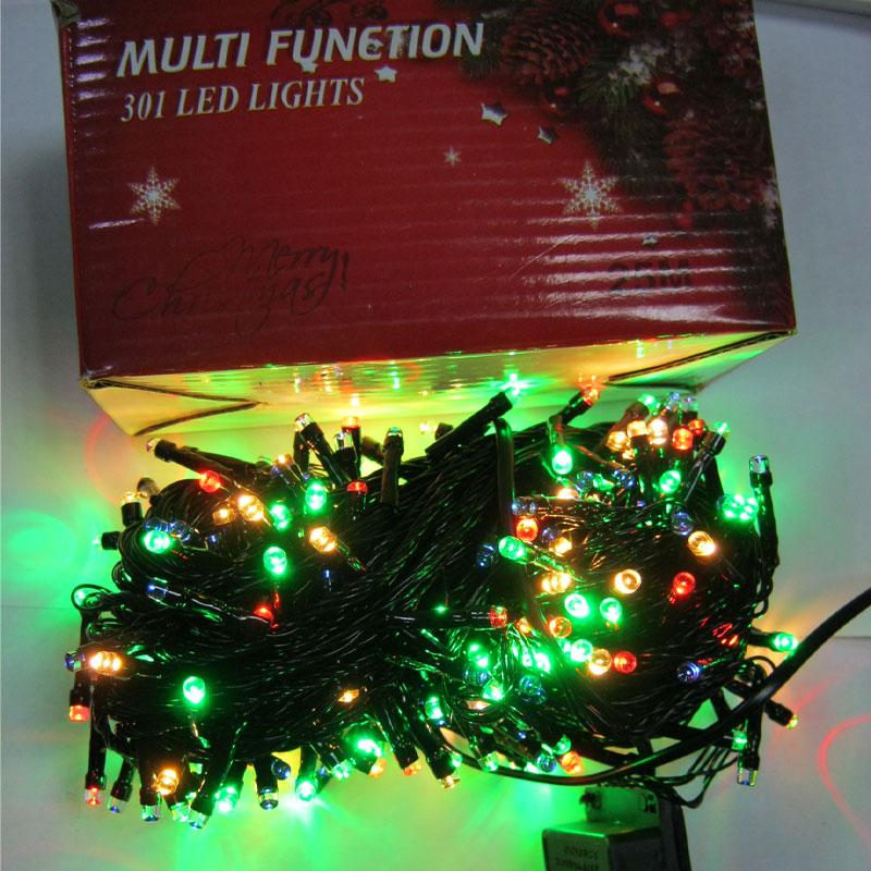 Гирлянда новогодняя 301 LED color;25m(черный провод,с переключением режимов)