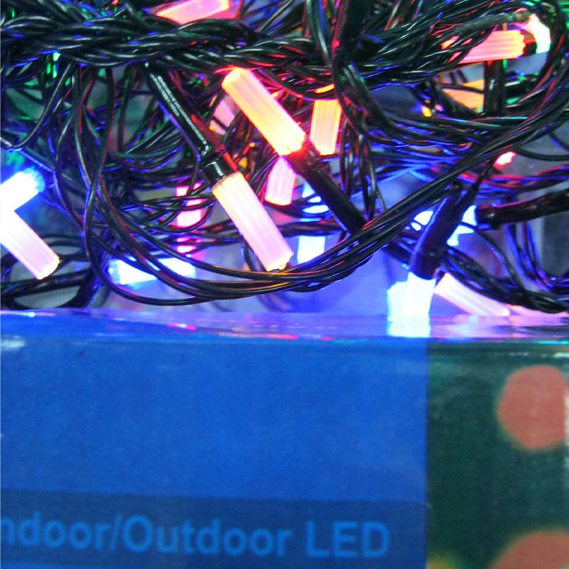 Гирлянда новогодняя 100 LED color;9m(гексогональная линза;черный провод,с переключением режимов)