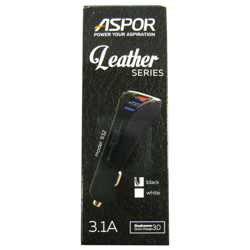 Автомобильное зарядное устройство ASPOR A932 Quick charge 3-USB порта(3,1А)Black