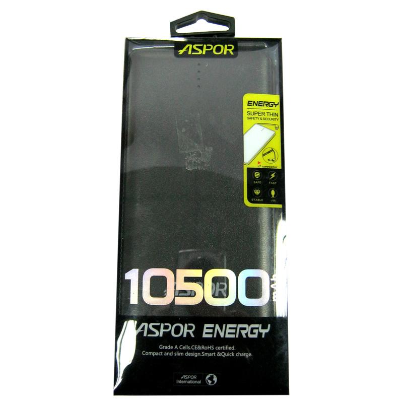 Портативное зарядное устройство ASPOR A382 Li-Pol(10500mAh)кабель micro+iPhone,2USB/1А+2,0A
