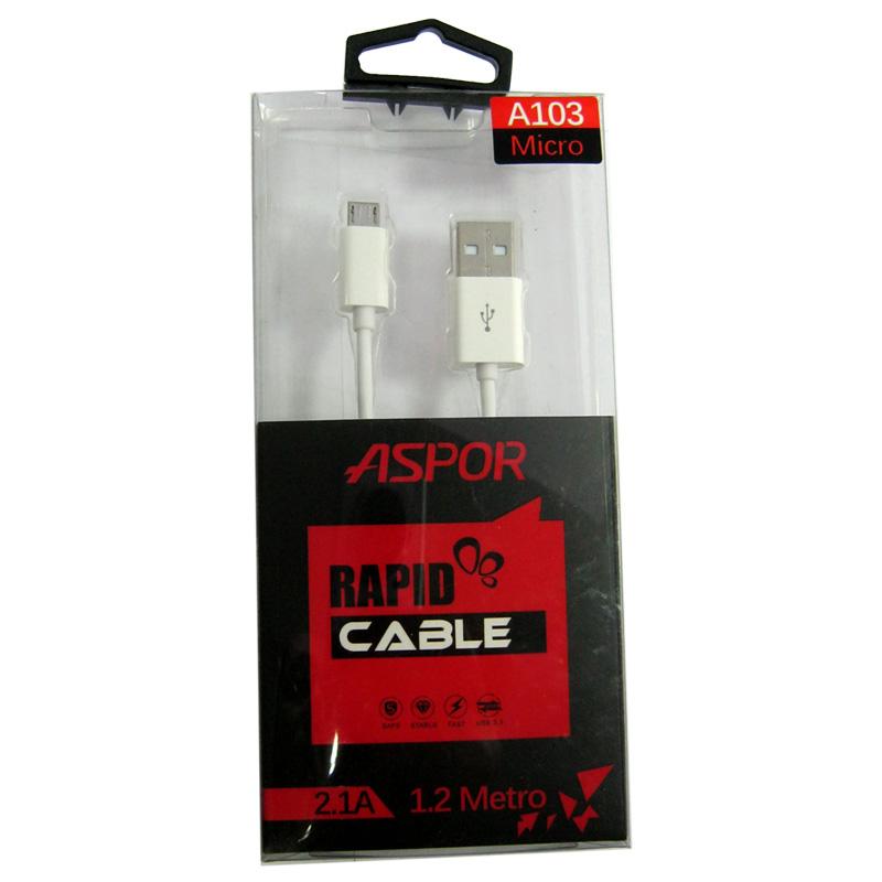Кабель Aspor A-103 2,1A USB-microUSB; 1,0m;белый
