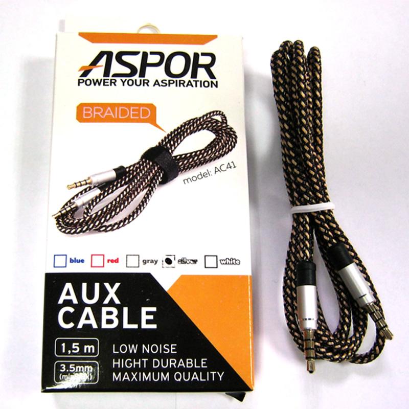 Кабель AUX Aspor AС-41 тканевый jack3.5(4pin) / jack3.5(4pin) 1,5m