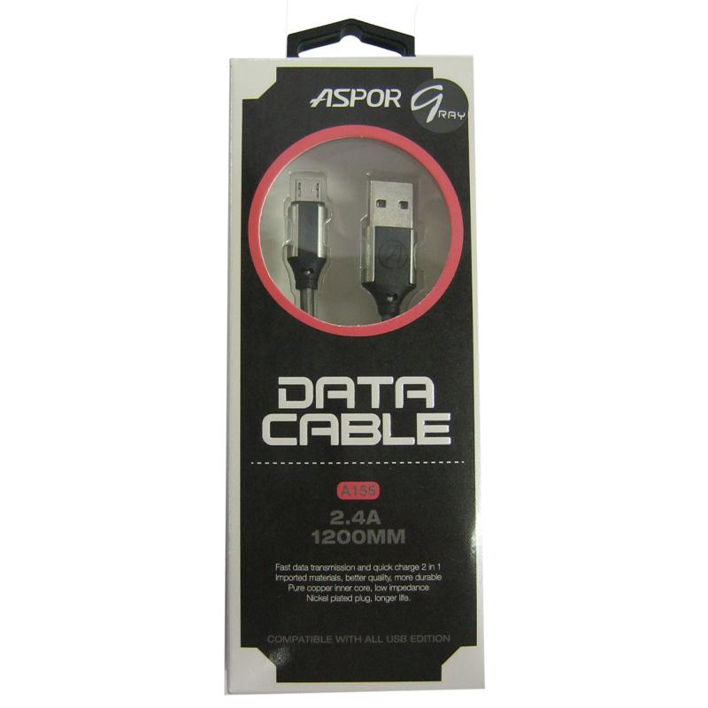 Кабель Aspor A155 Nylon 2,4A USB-microUSB; 1,2m;серебро