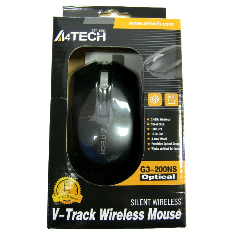 Беспроводная мышка A4Tech G3-200NS Black,V-Track USB(Бесшумная!!!)