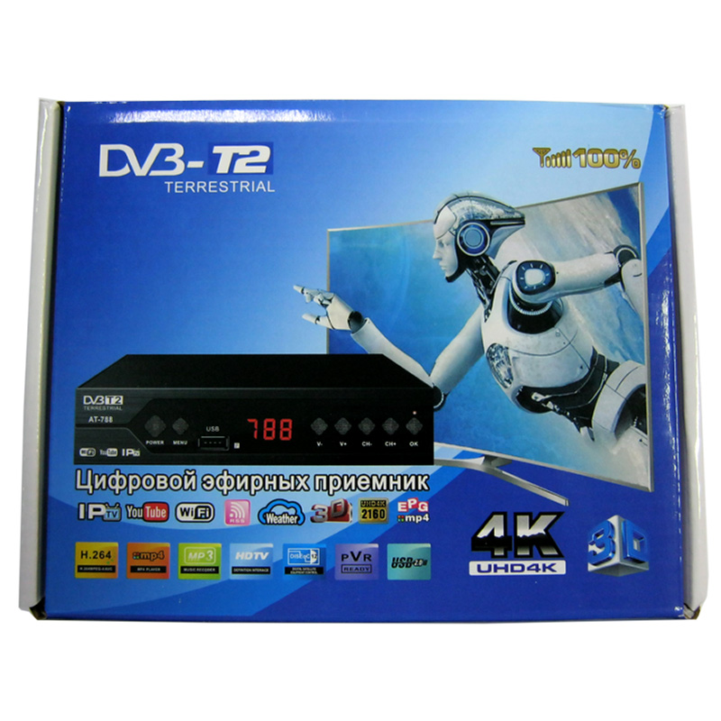 Тюнер DVB-T2 АТ-788 метал.корпус(гар.14дней)(IPTV;YouTube;WiFi)